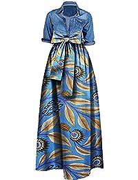 Womens African Print Dashiki Dress Long Maxi A Line Skirt...
