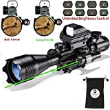 XOPin Rifle Scope Combo C4-16x50EG Dual Illuminated Green Laser Sight 4 Holographic Reticle Red/Green Dot Weaver/Rail Mount