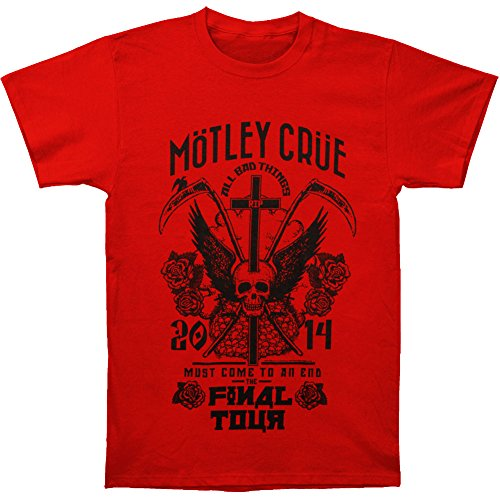 Motley Crue Men's Final Tour Tattoo Slim Fit T-shirt Red