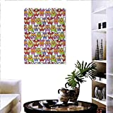 """familytaste Owl Art-Canvas Prints Ornate Owl Crowd with Different Sights and Polka Dots Like Matryoshka Dolls Fun Retro Theme Print Paintings for Home Wall Office Decor 20""""x28"""" Multi"""