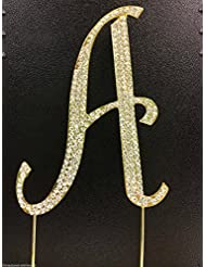 Crystal Rhinestone Covered Gold Monogram Wedding Cake Topper Letter A