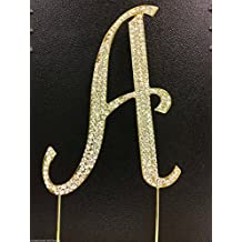 Crystal Rhinestone Covered Gold Monogram Wedding Cake Topper Letter A