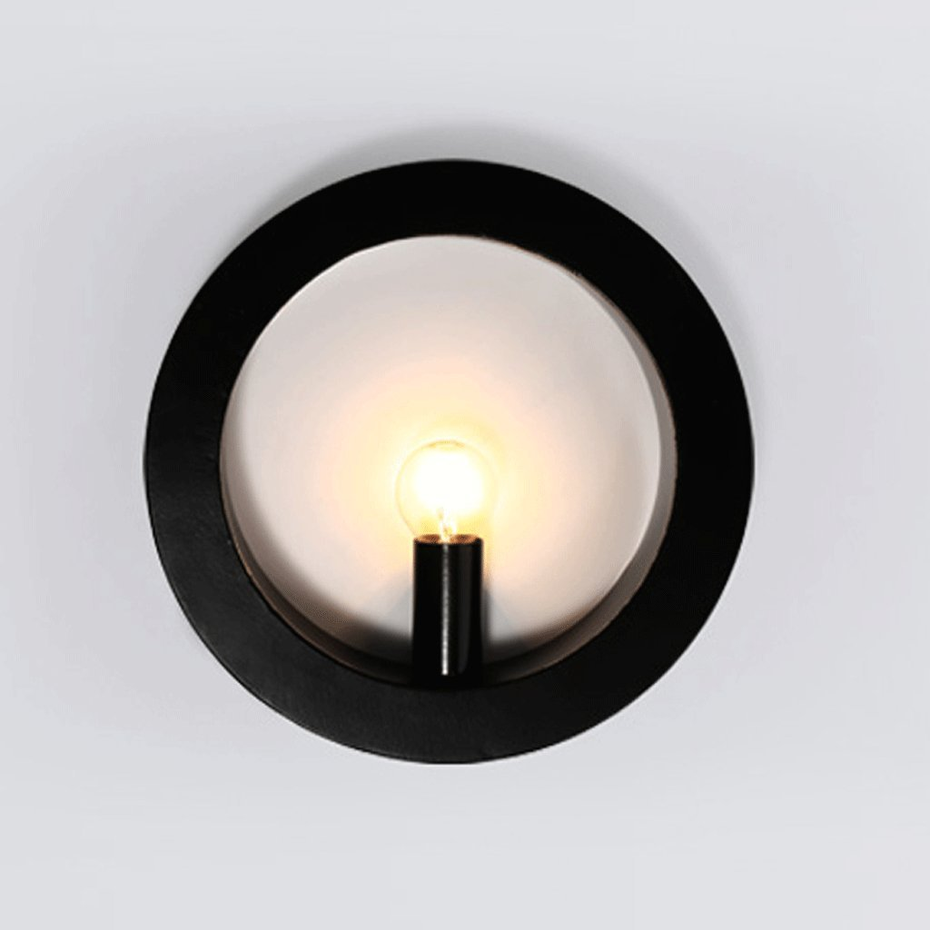 Unbekannt GJ Schmiedeeisen Wandleuchte Wohnzimmer Schlafzimmer Nachttisch Lampe Gang Korridor Lampe Hotel Engineering Wandleuchte New chinesischen Stil Wandleuchte GJV (Farbe   schwarz Round)