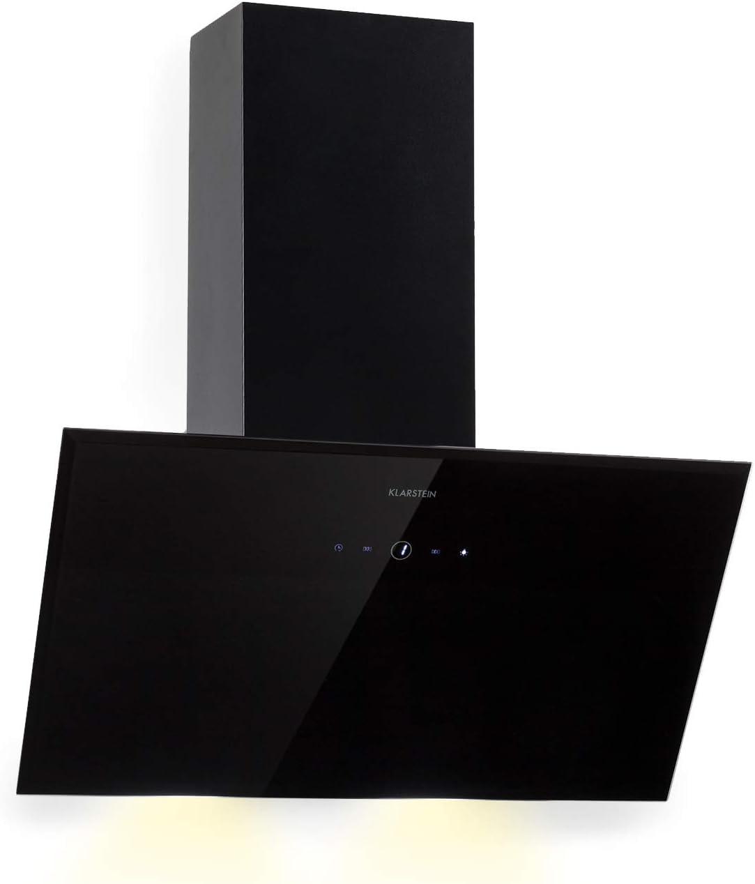 Klarstein Laurel 60 Black Edition - Extractor de humos, Campana extractora de pared, 3 niveles de extracción, 350 m³/h, 64 dB, 60 cm, Pantalla táctil LED, Filtro de grasa de aluminio, Negro