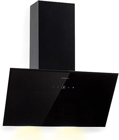 Klarstein Laurel 60 Black Edition - Extractor de humos, Campana extractora de pared, 3 niveles de extracción, 350 m³/h, 64 dB, 60 cm, Pantalla táctil LED, Filtro de grasa de aluminio, Negro: Amazon.es: Hogar