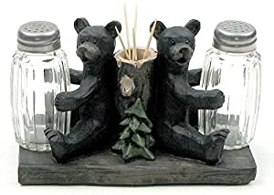 VoojoStore Salt and Pepper Bears with Toothpick holder - Perfect Gift For Men Women Couples Grandpa Father Mother Engagement Wedding Anniversary Christmas Birthday Him Her Sister Wife Husband