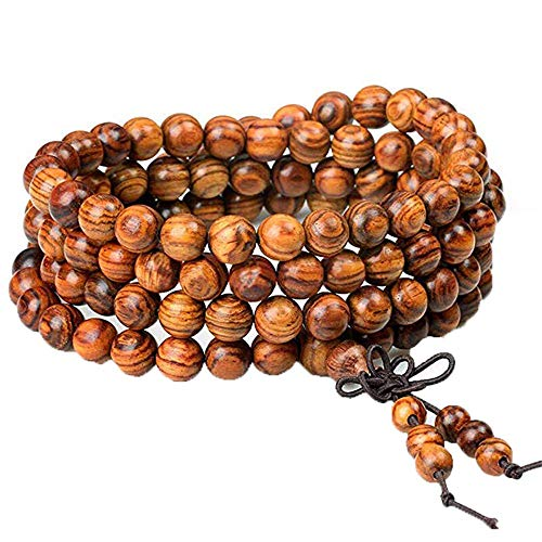 8mm Wooden Bead Buddhist Prayer Mala Necklace Bracelet Gift Jewelry Accessories (Brown) ()