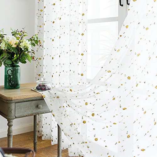 Sheer Curtains for Living Room 84 inch Length Yellow Embroidered Vintage Rose Curtain Panels for Bedroom Rod Pocket Natural Style Window Treatment Set (1 Pair, 84