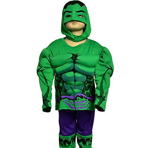 [Dressy Daisy Boys' Muscle Incredible Hulk Avenger Superhero Costume Halloween Party Size 3T-4T] (Incredible Hulk Costume Kids)