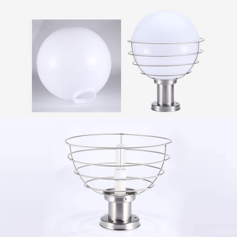 HWZQHJY Moderne outdoor wasserdichte kugel e27 post lampe moderne einfache runde sphärische spalte scheinwerfer edelstahl hausgarten lampe landschaft säule licht (Size : 30CM*40CM) 40cm*50cm