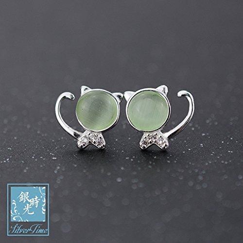 Time s925 silver stud earrings silver opal green grapes micro diamond earrings fashion style earrings stone cat woman -
