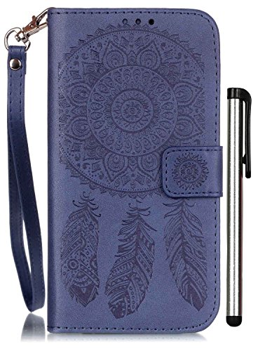 S7 Edge Case , Galaxy S7 Edge Assesories Leather Blue Wallet Full Body Magnet Front and Book Cell Phone Cover with Stand Credit Card Holder Cash Slot Wrist Strap Handmade Embossed Fashion Wind Chimes