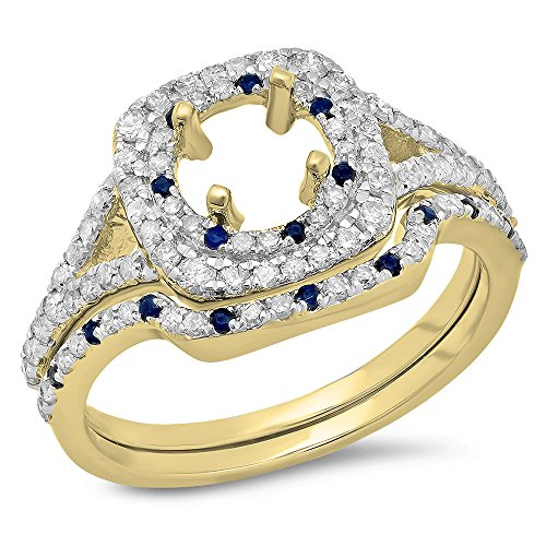 14K Yellow Gold Blue Genuine Sapphire & White Diamond Ladies Semi Mount Engagement Ring Set 3/4 CT