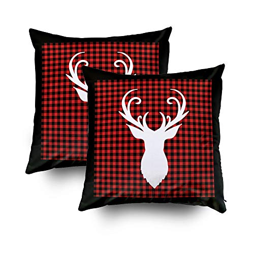 TOMWISH 2 Packs Hidden Zippered Pillowcase Halloween Deer Head Buffalo Plaid Square 18X18Inch,Decorative Throw Custom Cotton Pillow Case Cushion Cover for Home