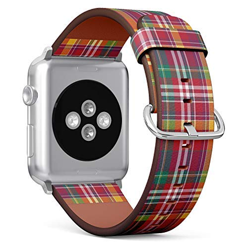 - Compatible with Big Apple Watch 42mm & 44mm Leather Watch Wrist Band Strap Bracelet with Stainless Steel Clasp and Adapters (Pink Plaid Tartan)