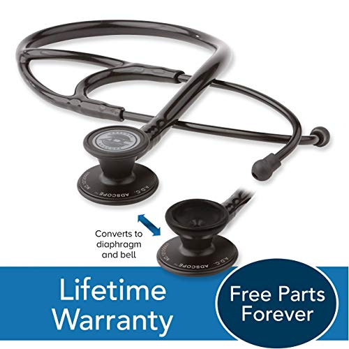 ADC Adscope 601 Convertible Cardiology Stethoscope with Tunable AFD Technology, For Adult and Pediatric Patients, 28 inch Length, Tactical All Black
