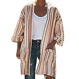 A Cardigan Open, Blouse Women Stripe Print Long Sleeve Refined Pocketed Knit Cardigan Kimono Tops