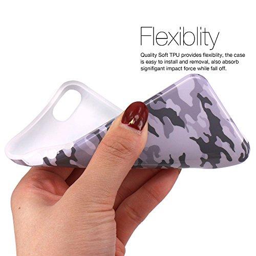 iPhone 5 Hülle, JIAXIUFEN Grau Tarnung Camo Serie Flexible TPU Silikon Schutz Handy Hülle Handytasche HandyHülle Etui Schale Case Cover Tasche Schutzhülle für Apple iPhone 5 5S SE