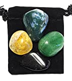ABUNDANCE & PROSPERITY Tumbled Crystal Healing Set with Pouch & Description Card - Aventurine, Black Tourmaline, Citrine, and Moss Agate