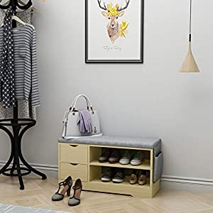 Vanimeu Entryway Shoe Bench Storage Rack Oak with Drawers and Seating Cushion Hallway Furniture Wooden (Beech 2 Drawers)