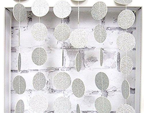 4-Pack,Circle Dots Garland, Twinkle Star garland Christmas garland, Party garland, Party decoration,Home decor,Christmas decor, Wedding decor,Gold Baby shower (13 Feet each)(Silver Circle Dots)