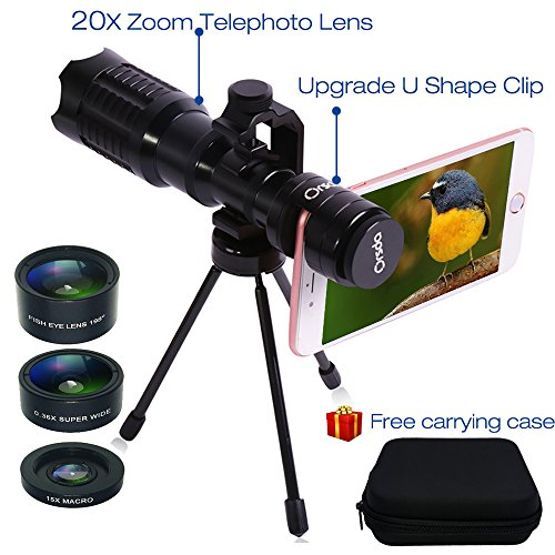 Zoom Camera Kit (Huatop HD Phone Camera Lens Kit, 20X Telephoto Lens + 198°Fisheye Lens + Wide Angle Lens + Macro Lens + U Shape Clip + Tripod + Carrying Case for iPhone and Most Smartphone, not for Samsung)