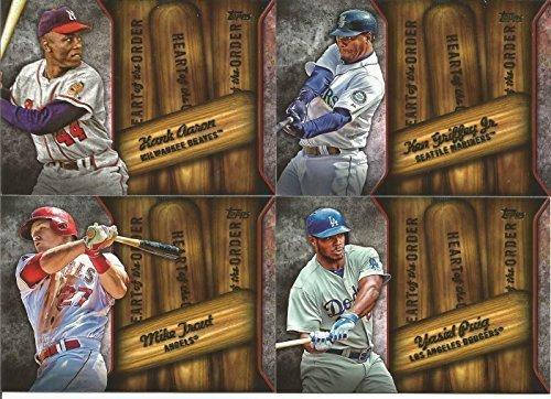 2015 Topps Heart of the Order MLB Baseball Complete Mint 20 Card Insert Set with Ted Williams, Hank Aaron, Ken Griffey Jr., Mike Trout Plus Complete M (Williams Autograph Baseball)