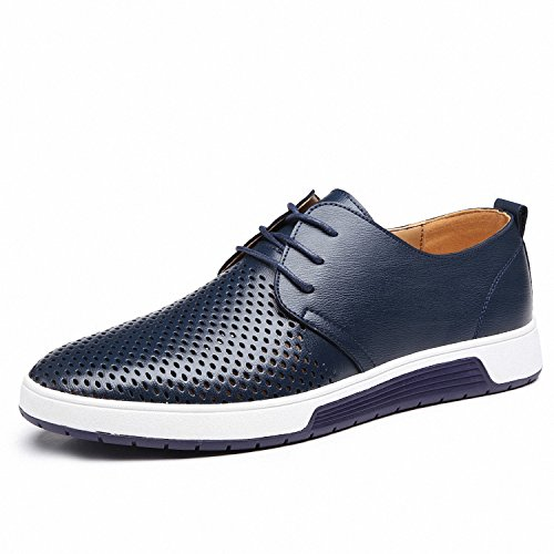 Drawingo Men's Shoes Leather Holes Design Summer Breathable Shoes Spring Autumn Business Men Flats Sapato Masculino Blue Leather Shoes 13.5