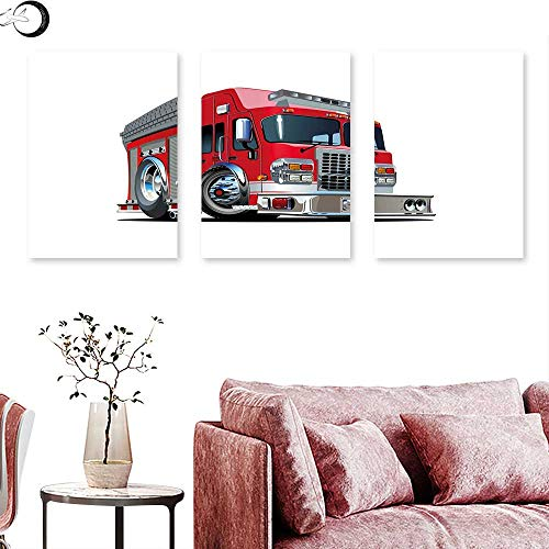 - J Chief Sky Truck Landscape Canvas Cartoon Style Red Fire Truck Emergency Services Safety of The City Transportation Wall Panel Art Red Pale Grey Triptych Art Canvas W 16