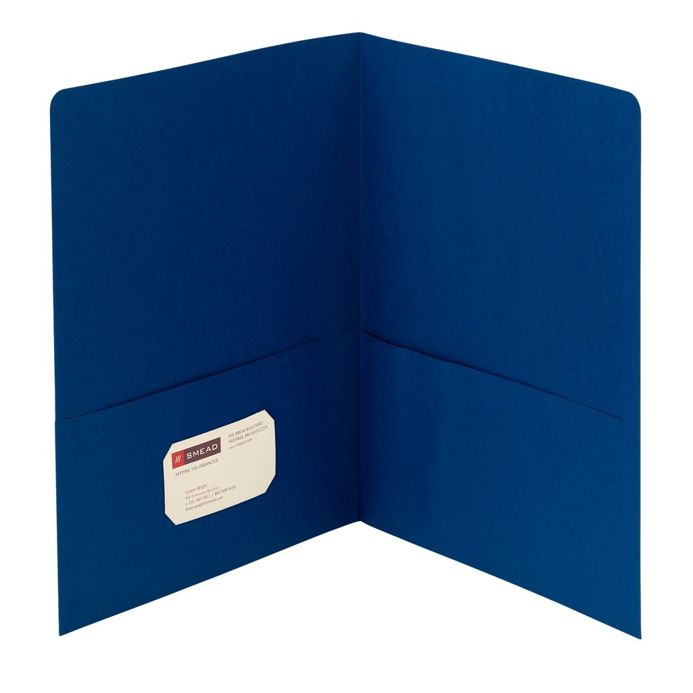 Smead Two-Pocket Heavyweight Folder, Up to 100 Sheets, Letter Size, Dark Blue, 25 per Box (87854)