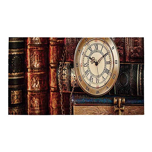 C COABALLA Antique Rectangular Bath Rug,Nostalgic Classic Pocket Watch on The Background of Old Books Dated Archive Photo for Bathroom,28