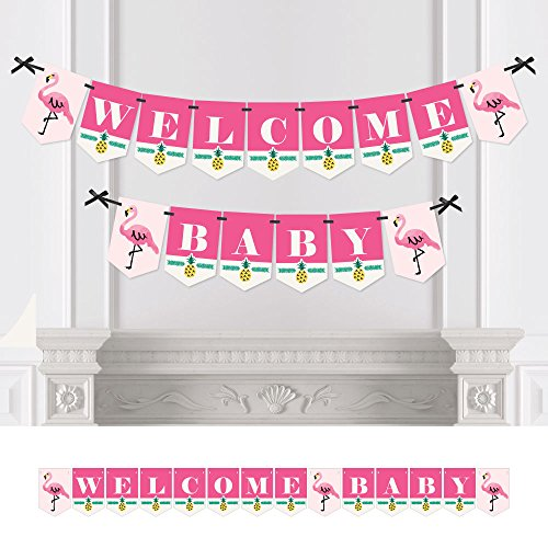 - Big Dot of Happiness Pink Flamingo - Party Like a Pineapple - Tropical Summer Baby Shower Bunting Banner - Pink Party Decorations - Welcome Baby