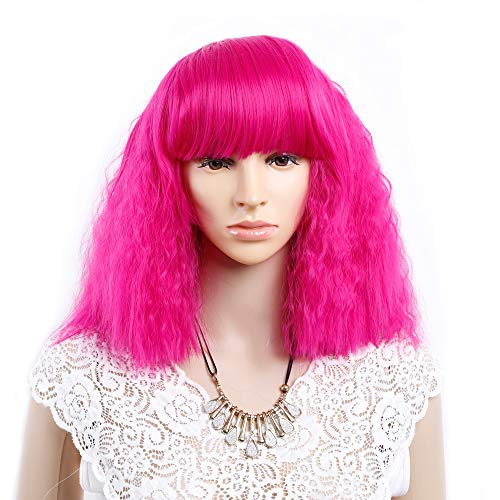 Short Fluffy Bob Kinky Straight Hair Wigs with Bangs 14inch Women's Curly Bobo Wig Fashion Hairstyles Full Wigs Custom Cosplay Party Wigs + Wig Cap (Rose hot pink) (Bobo Full Wig)