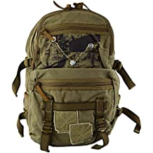 Military Style Canvas Vintage Look Casual Full Size Book & Outdoor Backpack2 GRN