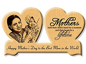 Incredible Gifts India Double Heart Wooden Engraved Photo for Mother