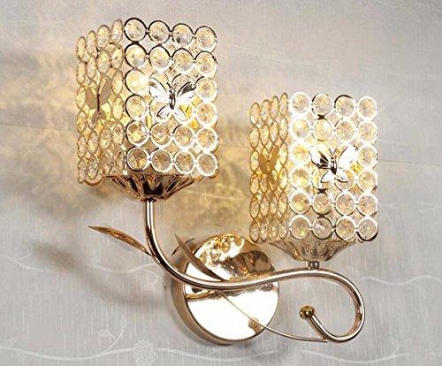 Midtawer dual head oro cristallo applique da parete led lampada da