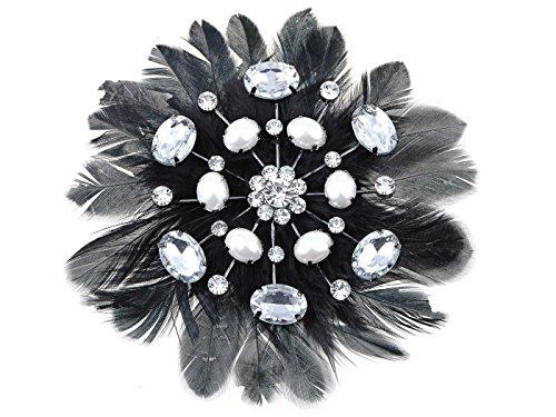 - Alilang Swarovski Crystal Elements Black Faux Bird Feather Pearl Bead Fashion Pin Brooch