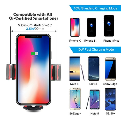 10W Wireless Car Charger, Detuosi Car Wireless Charger Car Phone Mount, Fast Charge for Samsung Galaxy S9/S8 plus/S8/S7/S6 Note 8/5, Standard Charge for iPhone X/8/8 Plus and all Qi Enabled Phones by DBNICE (Image #6)