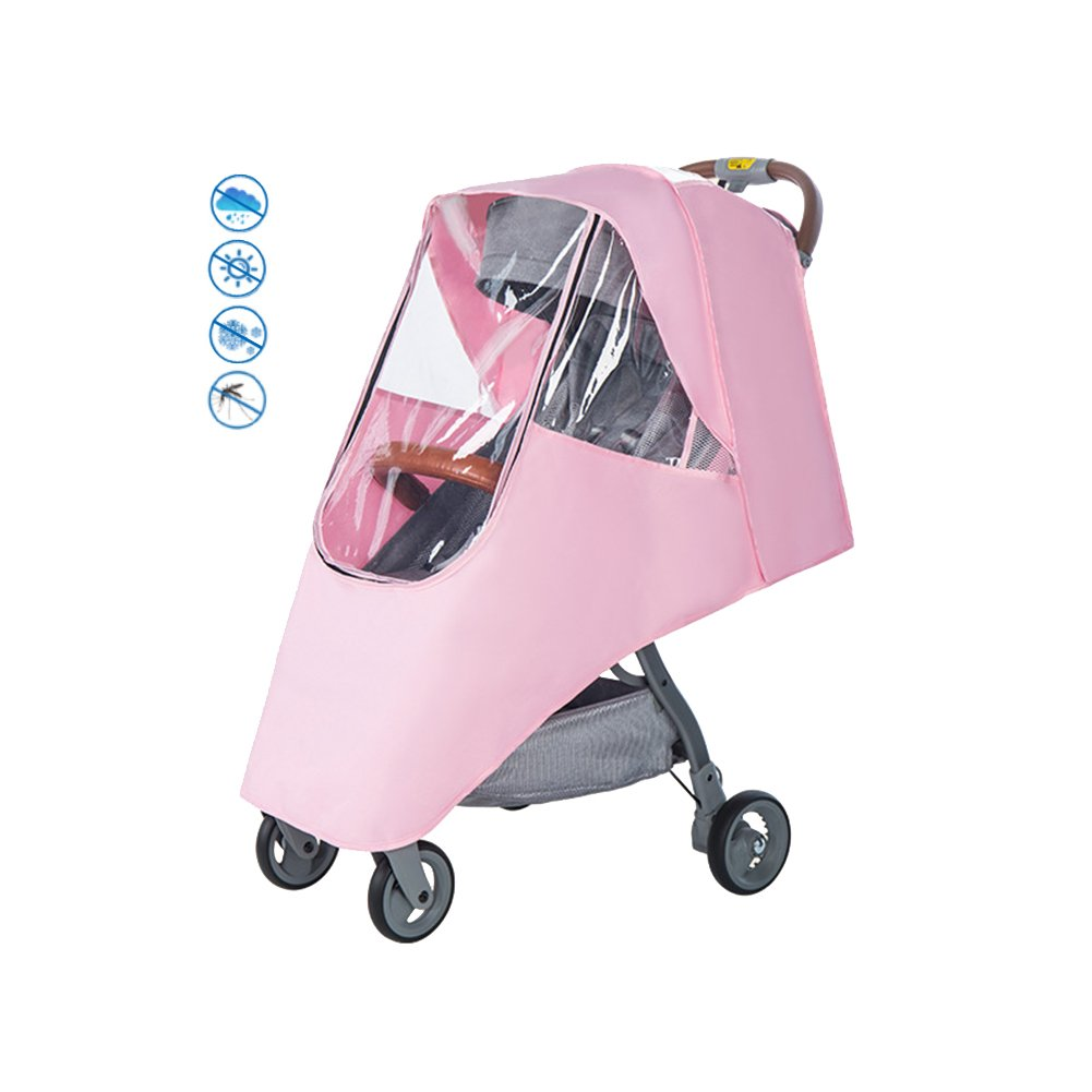 Per Pink Baby Stroller Rain Cover with Zipper Breathable Waterproof Windproof Universal Stroller's Accessory