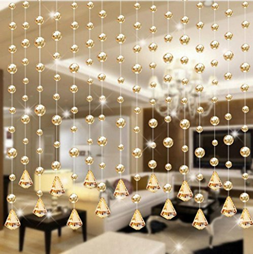 5 Strand of Beads with Gold Clear Bubble Design, DIY Luxury Crystal Glass Bead Curtain Home Decor Decorations for Living Room Bedroom Windows Doorway Ornament Wedding Party Supply (Gold) (Beading Curtain)