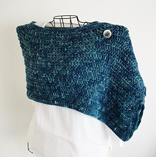 Deep Waters Blue Crochet Shoulder Shawl by Bluestockinette