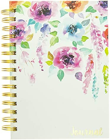 Graphique Hanging Flowers Hard Bound Journal w/Watercolor Flowers on Cover, Beautiful Introspective Journal for Nature Lovers and Gentle Spirits