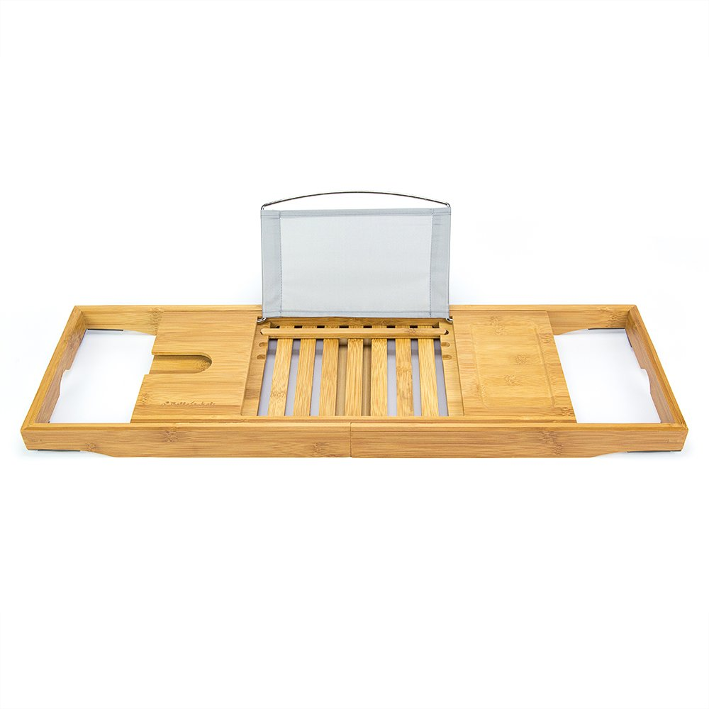 Amazon.com: Bellasentials Bamboo Bathtub Caddy & Bathroom Organizer with  Extending Sides and Adjustable Book Holder for a Customized Fit - Perfect  Tray for ...