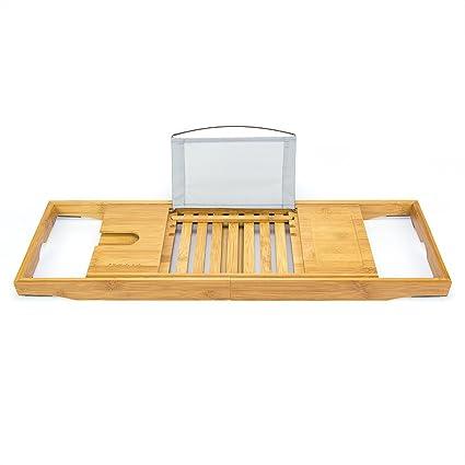 Amazon.com: Bellasentials Bamboo Bathtub Caddy & Bathroom Organizer ...