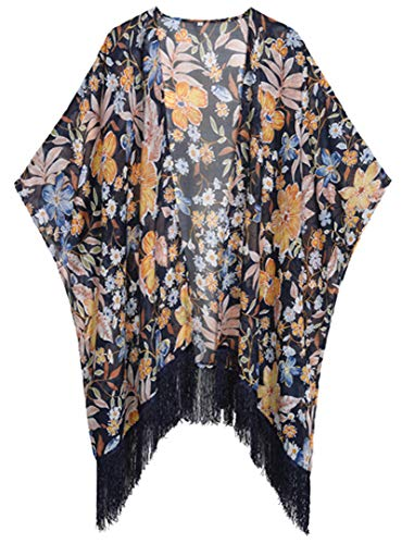 WEIYAN Women's Summer Tops Loose Chiffon Kimono Cardigan Beach Swim Cover up Blouse (Bfloral, X-Large) ()