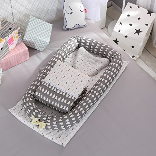 DOLDOA Baby Bassinet for Bed Portable Baby Lounger for Newborn,100% Cotton Newborn Portable Crib,Breathable and Hypoallergenic Sleep Nest Newborn Lounger Pillow for Bedroom/Travel (Penguin) by DOLDOA