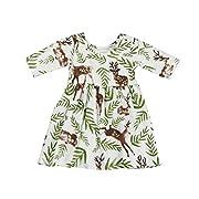 CSSD Girls Princess Dresses, Toddler Baby Short Sleeve Floral Deer Pageant Dresses (12M, Multicolor)