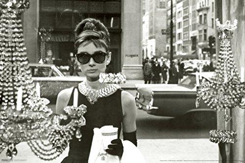 Audrey Hepburn Window Scene Breakfast At Tiffanys Holly Golightly Comedy Movie Film Poster - Hepburn Sunglasses Images In Audrey