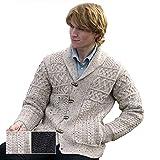 100% Irish Merino Wool Mens Aran Shawl Collar Sweater by Westend Knitwear,Oatmeal,Medium