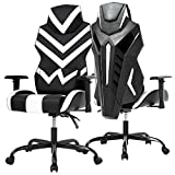 High-Back Gaming Chair PC Office Chair Computer Racing Chair PU Desk Task Chair Ergonomic Executive Swivel Rolling Chair with Lumbar Support for Back Pain Women, Men(White)